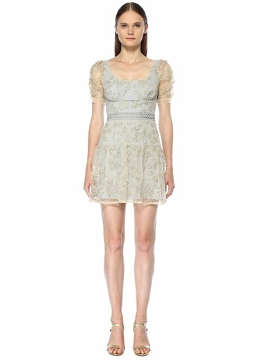 Self Portrait İşlemeli Tül Detaylı Mini Elbise Gri
